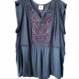 Knox Rose Sleeveless Embroidered Blouse/Tunic